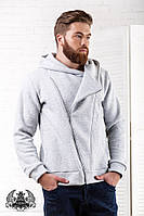 Мужской худи - кофта (теплый) на молнии по диагонали с капюшоном