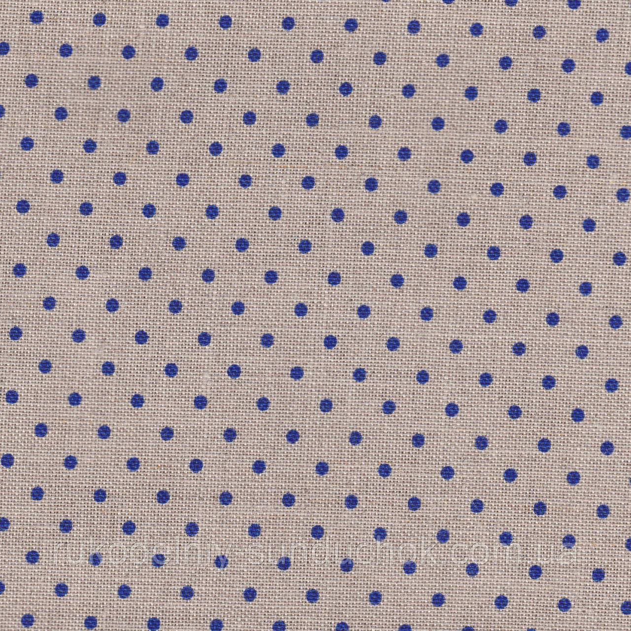 Ткань равномерного переплетения Zweigart Belfast 32 ct. Petit Point 3609/53009 Raw linen/blue dots (цвет сырог