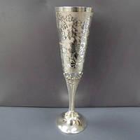 Бокал серебряный для шампанского на высокой ножке Весна