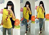 "Женская  кофта "" Сакура""жёлтая, фото 1"