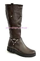 Сапоги кожаные женские демисезонные на утолщенной подошве, коричневый цвет