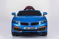 Детский электромобиль BMW 668 синий, кожаное сиденье и мягкие колеса EVA