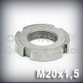 Гайка М20х1,5 оцинкованная ГОСТ 11871-88 круглая шлицевая