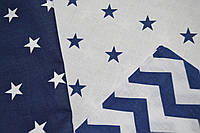 Детская сменная постель синего цвета с зигзагами и звёздами