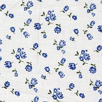 Отрез ткани, ситец, цвет белый с голубыми тюльпанчиками 245х78см