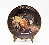 Коллекционная фарфоровая тарелка Сентябрь, фарфор, König Porzellan, Германия, 1998 год, фото 1
