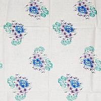 Отрез ткани, ситец , цвет белый с зелено-голубыми букетами 110х80см
