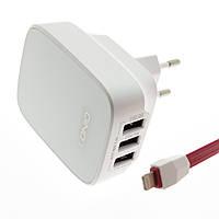 Сетевой адаптер (зарядное устройство)  LDNIO DL-AC65 3xUSB 3.4A + кабель micro USB
