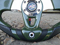 Руль с термометром №604 (темно зеленый) с переходником на лодку., фото 1