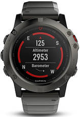 Смарт-годинник Garmin fenix 5X Slate Gray Sapphire with Metal Band, фото 3