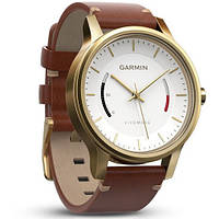 Смарт-годинник Garmin Vivomove Premium Gold-tone Steel with Leather Band