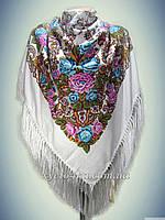 Шерстяной платок с пышной бахромой, белый 120см