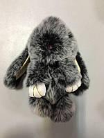 Меховой брелок-кролик меланж Rex Fendi черно серый