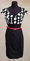 Платье Черное в белый горох с красным поясом (Италия)