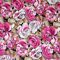 Отрез ткани, ситец, розы с коричневыми листками 160х77см