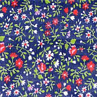 Отрез ткани, ситец, цвет темно-синий в мелкий цветочек 125х80см