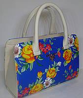 Женская каркасная сумка ПРАДА  c цветочным принтом