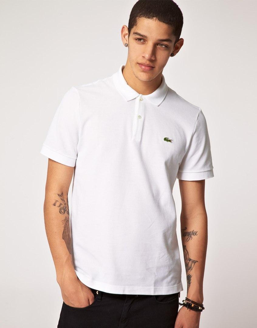 a90ffcdc8d34 Мужская футболка поло Lacoste White (реплика)