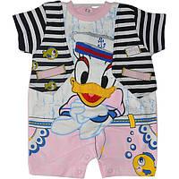"""Летний бодик на кнопках """"Seaman Duck"""", трикотаж (интерлок) , для малышей от 2-3-4 мес (3 ед. в уп.)"""