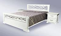 Двуспальная классическая деревянная кровать Лиана белая 1600 х 2000