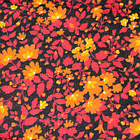 Отрез ткани, фланель, красно-оранжевые цветы на коричневом фоне 97х85см и 88х85см