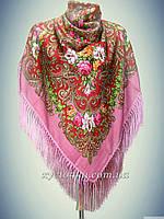 Шерстяной платок с пышной бахромой Лилия, бордовый с розовым 120см