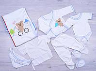 """Комплект для новорожденных """"Мишка"""".Трикотаж. 0-3 месяцев. Белый. Оптом., фото 1"""