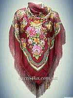 Шерстяной платок с пышной бахромой, бордовый 120см