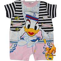 """Трикотажный летний бодик """"Seaman Duck"""" , интерлок , на кнопках , для малышей (2-3-4 мес) 3 ед. в уп."""