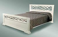 Двуспальная классическая деревянная кровать Лиана бежевая 1600 х 2000