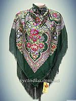 Шерстяной платок с пышной бахромой Дыхание лета, зелёный 120см