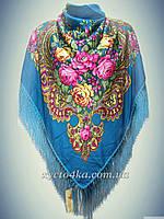 Шерстяной платок с пышной бахромой, индиго 120см