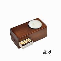 Оригинальный деревянный подсвечник со спичками для свечи таблетки
