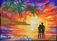 Ткань с рисунком для вышивания бисером Морской закат