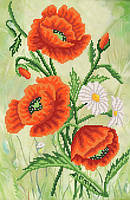 Ткань с рисунком для вышивания бисером Изящные цветы