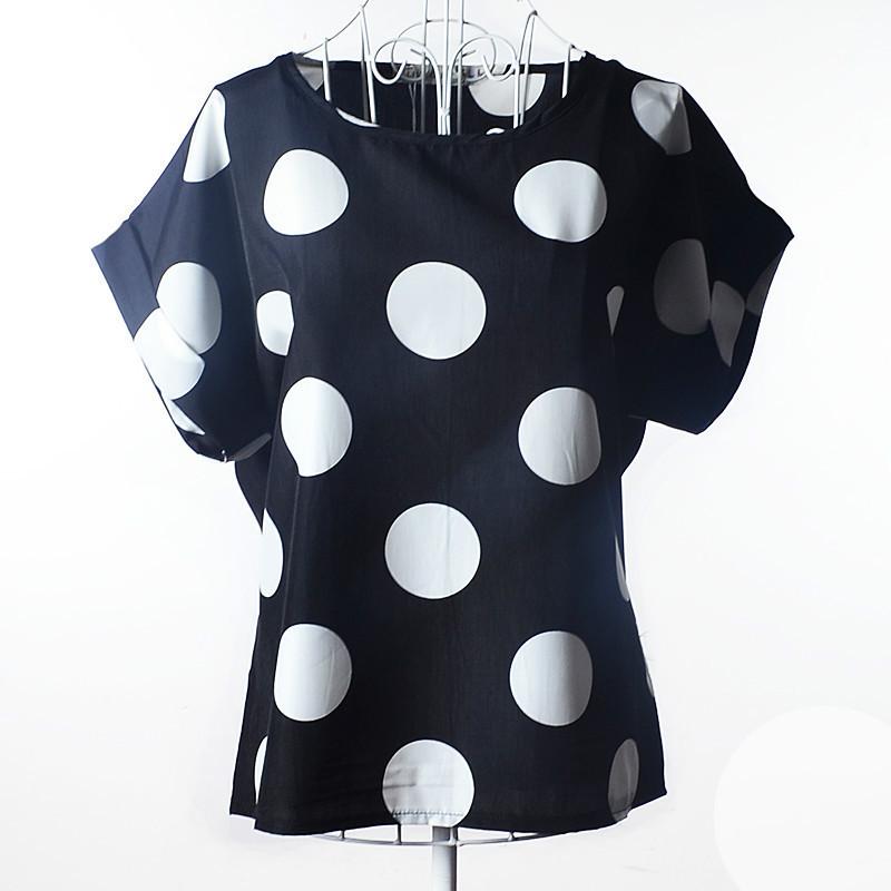 Блуза женская с короткими рукавами / Футболка шифоновая в белый горох черная