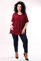 Блуза бордовая, батал, размер свободный, до 70 размера