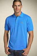 Мужская поло футболка однотонная Lacoste Blue (реплика), фото 1