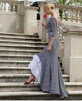 Длинное эксклюзивное платье в полоску декорированное прошвой