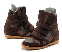 """Сникерсы """"Isabel Marant High-Top Brown Sneakers"""" Женские Коричневые Высокие на Липучках (Киев цена 1320 грн)"""