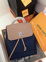 Крутой женский рюкзак Louis Vuitton LOCKME натуральная кожа (реплика), фото 1