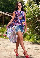 Красивая летняя женская туника без рукав со шлейфом