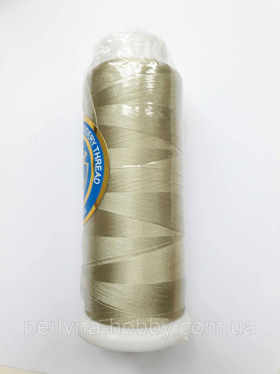 Нитки для машинної вишики 100% віскоза (100% rayon) 3000 ярдів, №105, оливково-сіра