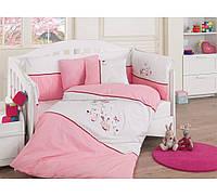 Набор в детскую кроватку с вышивкой Cotton Box Mommy Pembe розовый