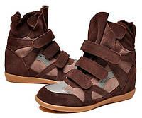 """Зимние Сникерсы """"Isabel Marant High-Winter Brown Sneakers"""" с Мехом Женские Коричневые Высокие Кроссовки (Киев)"""