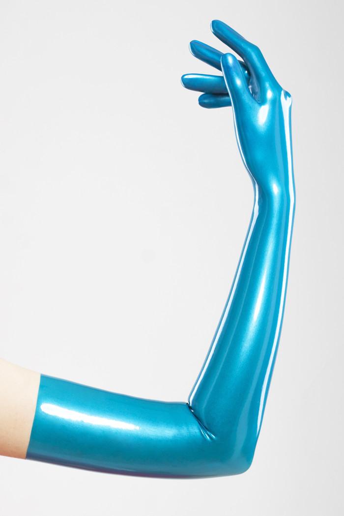 Длинные перчатки из литого латекса цвета синий металлик