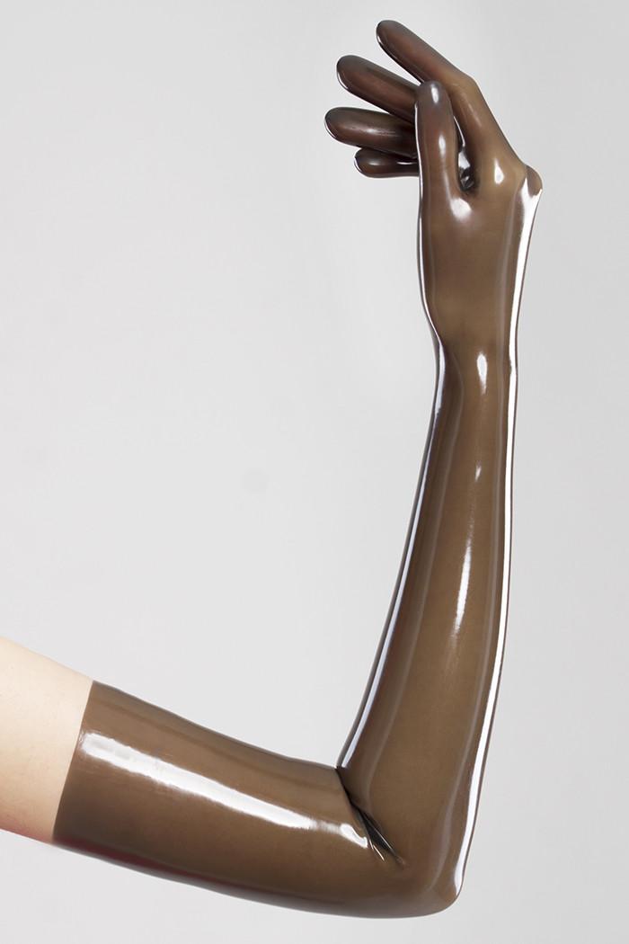 Длинные перчатки из литого латекса цвета прозрачный дымчатый