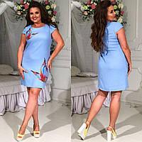 Женское льняное короткое платье больших размеров