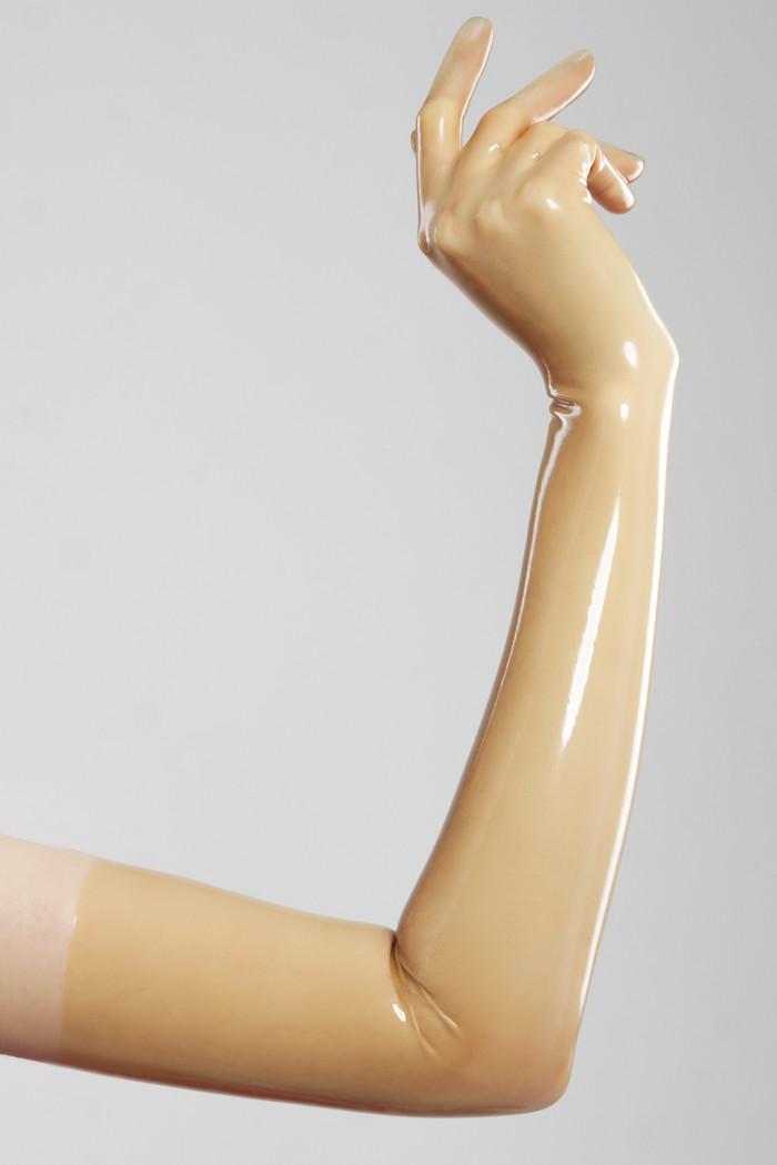 Длинные перчатки из литого латекса цвета полупрозрачный натуральный