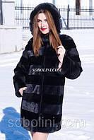 Шуба с мехом южно- американского бобра и норки, цвет черный, длина 85 см